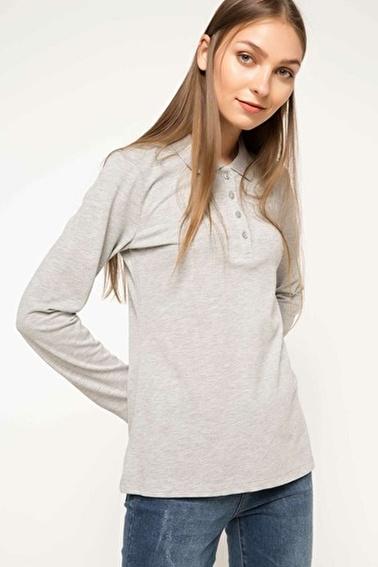 DeFacto Uzun Kollu Polo T-Shirt Gri